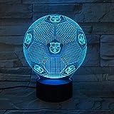 Luz De Noche Lámpara De Noche 3D Luz De Dormir Led Lámpara De Mesa De Fútbol Barcelona Touch 7 Colores Cambiar Ilusión Usb Decoración De Dormitorio Para Niñas Y Niños Cumpleaños Navidad Halloween