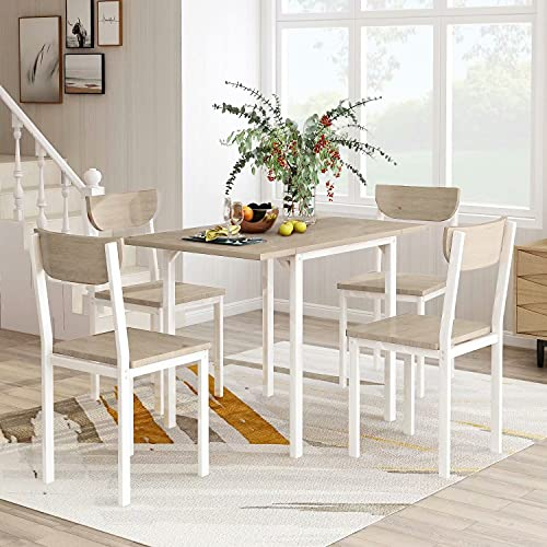 UNI FAM 5-Piece Modern Metal Dining Set with 1 Drop Leaf Dining Table and 4 Chairs Home Kitchen Furniture Dinette Set (Light Grey Finish)