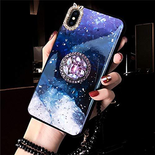LIUYAWEI Funda de Anillo de Dedo de Diamante de mármol para iPhone 11 Pro 6 7 8 Plus X XS MAX XR 12 Funda con Brillo Brillante y Anillo de teléfono con Correa de Perlas, Azul, para iPhone 6 6S