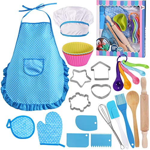 Kids Cooking and Baking Set - 25 Pcs Chef Costume Role Play for 2-8 Year Old Little Boys, Includes Kids Apron, Chef Hat, Mitt, Utensils, Cake Cutter, Cupcake Moulds for Toddler Dress Up Kids Gift