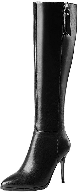 Nine Seven Genuine Leather Women's Pointy Toe High Heel Elegant Handmade Knee High Boots