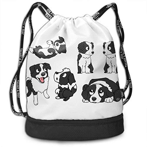 PmseK Turnbeutel,Kordelzug Tasche Cute Black and White Dog Print Drawstring Backpack Bag Outdoor Bundle Backpack Gym Sackpack Travel Sport Yoga Gym Cinch Bag Sack Bag Beach Rucksack for Women & Men