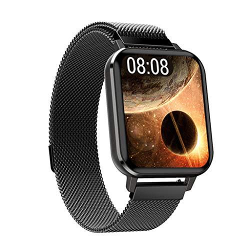 SweetWU DTX - Pulsera de reloj inteligente impermeable, monitor de ritmo cardíaco, monitor de sueño, correa de acero negro