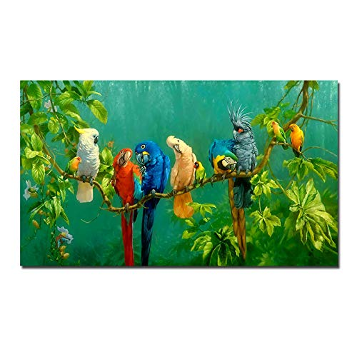 zxianc Immagini Pappagalli Colorati Animali Pittura su Tela Pappagallo Uccello sui Rami Stampe su Tela Poster Quadri da Parete per Soggiorno Arredamento Moderno 70x140 cm / 27,5'x55,1 Senza Cornice