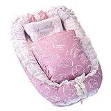 Decdeal 4in1 Babynestchen Set Multifunktionales Kuschelnest Reisebett mit Randverzierung 100% Baumwolle Inkl. Matratze, Steppdecke, Kissen und Geländern