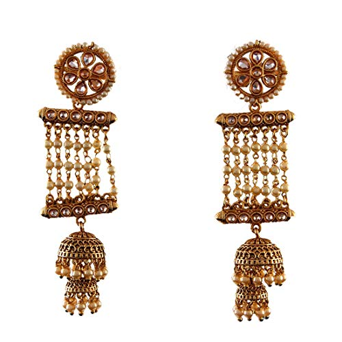 JewelryGift Fascinating Dangle Hanging Jhumki Earrings Gold Plated Embellished Fashion Jewellery for Girls and Women ME 143-LCT