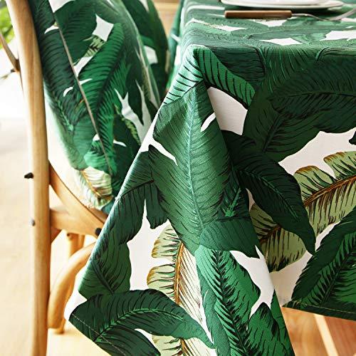 Dreaming Casa - Mantel impermeable para mesa rectangular, antimanchas, diseño geométrico, para mesa de comedor, picnic y fiesta, mantel rectangular, cartón, Feuille de Bananier, 140X180cm