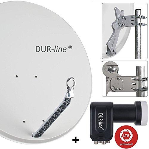 DUR-line 4 Teilnehmer Set - Qualitäts-Alu-Satelliten-Komplettanlage - Select 85cm/90cm Spiegel/Schüssel Hellgrau + Quad LNB - für 4 Receiver/TV [Neuste Technik, DVB-S2, 4K, 3D]