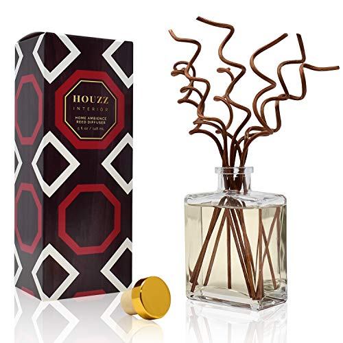 HOUZZ Interior Reed Diffuser Sticks Caribbean Teakwood Room Fragrance – Citrus & Spice with Warm Amber & Vanilla – Made with Natural Essential Oils – No Sulfates or Parabens – Made in The USA