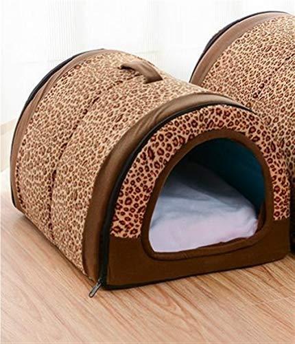 Dog House Nest Mit Mat faltbare Heim-Hundebett-Katze-Welpen Hundehütte for Small Medium Hunde Tiere Chihuahua Betten Mat Cushion (Color : Leopard grain, Size : 35cmx26cmx28cm)