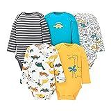 Paquete de 5 Bebé Body De Manga Larga Niños Mameluco Camisetas Paquete de Pijama Niñas Mono de Algodón 12-18 Meses