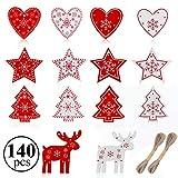 gudotra 140pz addobbi natalizi rossi ornamento ciondoli in legno decorazione per albero di natale regalo biglietti natalizi