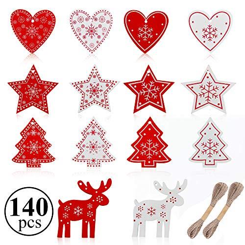 Gudotra 140 Piezas Etiquetas de Madera Navidad Decoración