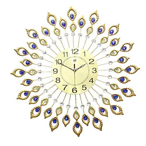 DIEFMJ Reloj de Pared con Diamantes 80 Sala de Estar Moda para el hogar Reloj Creativo Mesa de Arte Pavo Real Reloj de Cuarzo Moderno Relojes de Pared con Pilas