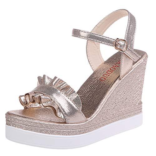 Qmber Damen Klassische Keilabsatz Espadrilles mit Bändern zum Schnüren Knöchelriemchen Sandalen mit Keilabsatz/Gold,40