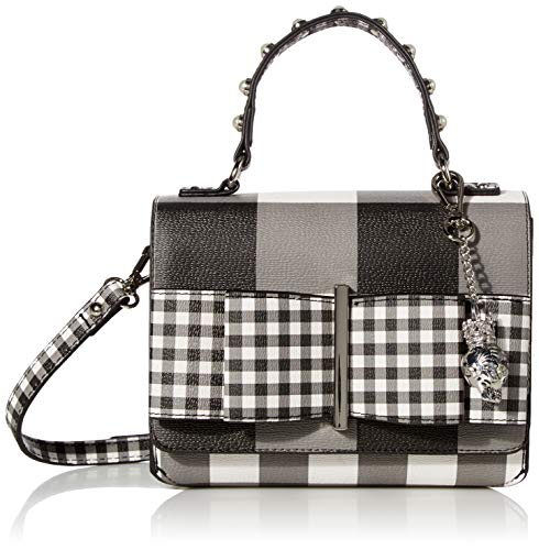 Betsey Johnson Bowing Out Gingham Crossbody, Black/White
