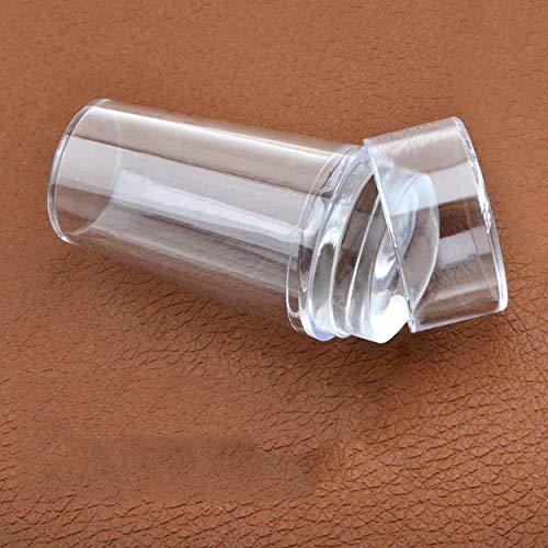 Lodenlli Sello de gelatina de cabeza de silicona transparente con sellos de cubierta Estampado de esmalte de uñas Raspador de arte de uñas Kit de herramientas de bricolaje con mango mate