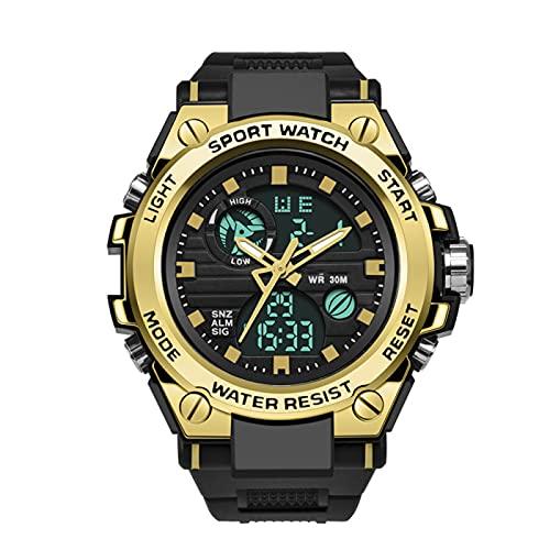 WTYU Reloj Deportivo - Reloj Militar de Doble Pantalla al Aire Libre, Reloj de Pulsera Impermeable 3ATM, Reloj electrónico Luminoso, para Hombre/Estudiante/Adolescent A