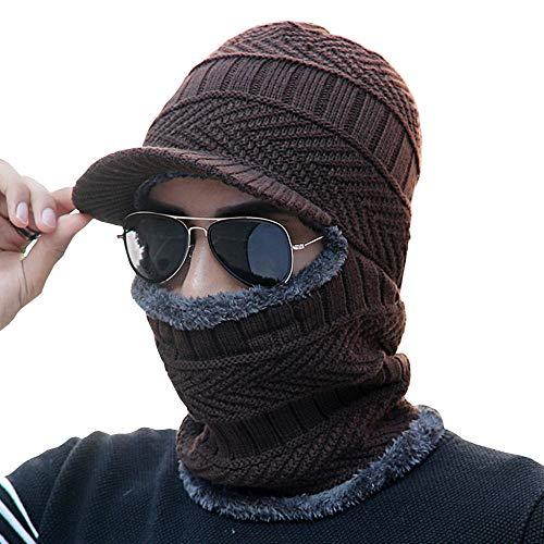 DJBNMZI heren winterhoed hoed sjaal 2 stuks gebreid koraal fluweel verdikt warm outdoor casual hoed