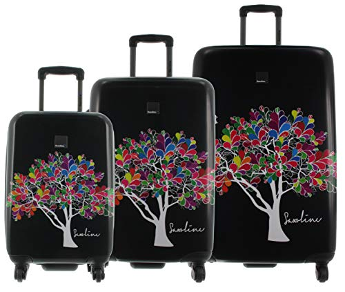 Saxoline Blue Koffer Spinner Integriertes TSA Zahlenschloss, 4 Rollen Schwarz, dreier Set Magic Tree
