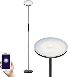 Floor lamps, Wellwerks 30W LED Torchiere Smart Light, Dimmable Standing Lamp with touch control for Living Room, Office and Bedroom, Compatible with Amazon Alexa Google Home