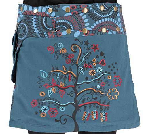 GURU SHOP Bestickter Wickelrock, Kurzer Goa Rock, Cacheur, Damen, Petrol, Baumwolle, Size:One Size, Röcke/Kurz Alternative Bekleidung