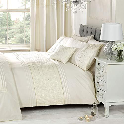 Just Contempo Parure de lit Simple avec Housse de Couette et taie d'oreiller Motif Floral brodé Crème