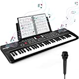 Heren 61 Keys Keyboard Piano, Electronic Digital Piano with Built-In Speaker Microphone, Sheet Stand and Power Supply, Portable Keyboard Gift Teaching for Beginners (Black)