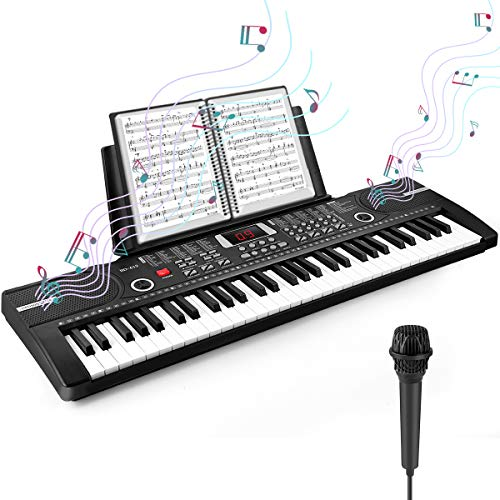 Camide 61 Keys Keyboard Piano, Kids Electronic Digital Piano with Built-In Speaker Microphone, Sheet Stand and Power Supply, Portable Keyboard Gift Teaching for Beginners-01