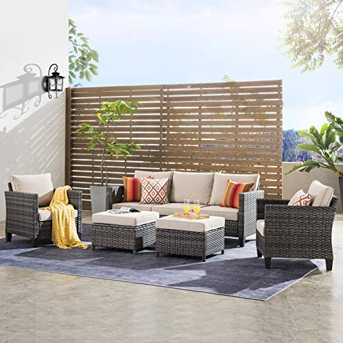 ovios Patio furnitue, Outdoor Furniture Sets,Morden Wicker Patio Furniture sectional with Table and 2 Pillows,Backyard,Pool,Steel (Grey-Beige)