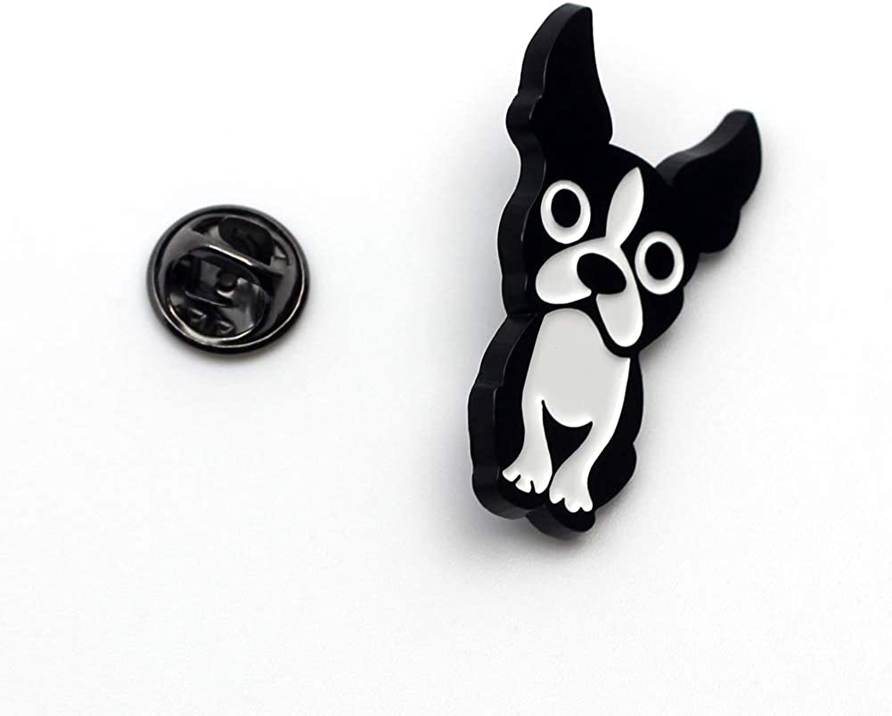 CUFTS Boston Terrier Enamel Pin Metal Black Dog Brooch Gifts for Dog Lovers Boston Terrier Lapel Pin Jewelry