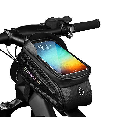 GAYISIC Fahrrad Rahmentasche, Wasserdicht Fahrradtasche TPU Touchscreen Lenkertasche Handyhalter Handytasche mit Kopfhörerloch und Reflektierender Streifen, für Smartphone unter 7,0 Zoll