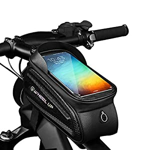 GAYISIC Bolsas de Bicicleta, Bolsa Impermeable para Bicicleta, Bolsa Táctil de Tubo Superior Delantero con Orificio para Auriculares para Teléfono Inteligente por Debajo de 7,0 Pulgadas