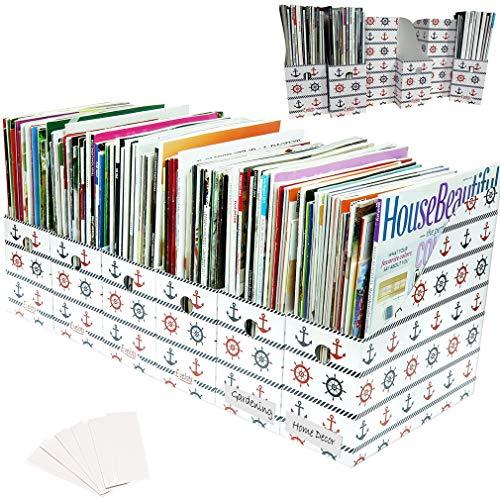 "Evelots Magazine File Holder-Organizer-4"" W-Nautical-with Labels-Set/12"
