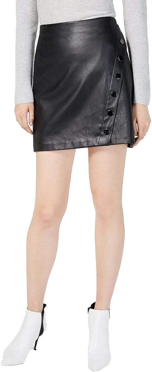 INC Womens Faux Leather Embellished Mini Skirt Black XL