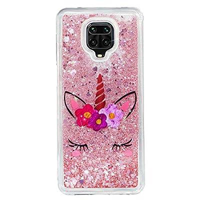 ChoosEU Compatible con Funda Xiaomi Redmi Note 9S / Note 9 Pro Silicona Transparente Dibujos Glitter Brillante Bonita Carcasas Liquido Purpurina Case Antigolpes Cover Protección Caso - Unicornio