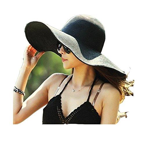 Sombrero de Playa con ala Ancha Plegable para Mujer Sombrero de Paja...