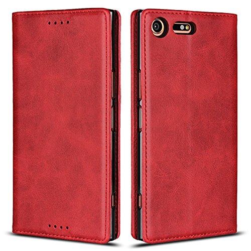 Copmob Cover Sony Xperia XZ Premium,Premium Flip Portafoglio Custodia in Pelle,[3 Slots][Funzione Staffa][Chiusura Magnetica],Custodia Cover per Sony Xperia XZ Premium - Rosso