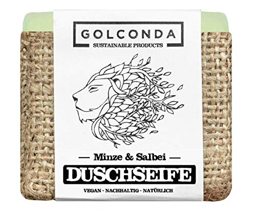 GOLCONDA Duschseife Minze & Salbei | zertifizierte Naturkosmetik | Naturseife extra-feuchtigkeitsspendend | Vegan | Handgemacht | Plastikfrei | Palmölfrei | 1 stück