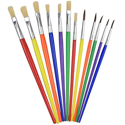 12 pennelli per bambini, pennelli colorati per bambini, pennelli per pittura ad olio, pennelli per acquerelli, pennelli acrilici per bambini, adulti, principianti