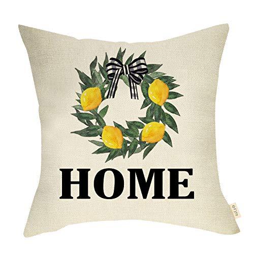 Fjfz Rustic Summer Farmhouse Decorative Throw Pillow Cover Home with Green Lemon Wreath Buffalo Plaid Bow Tie Sign Decoration Home Décor Cotton Linen Cushion Case for Sofa Couch, 18' x 18'