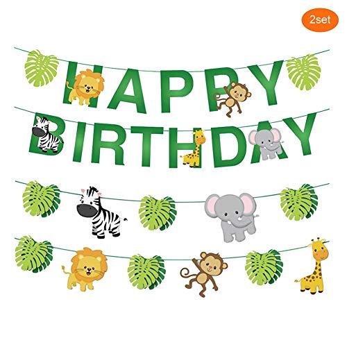 Dusenly Banner de Feliz cumpleaños de Animales de la Selva de Dibujos Animados Juego de guirnaldas de empavesado de Papel Decoración temática del Festival del cumpleaños del Tema del Bosque