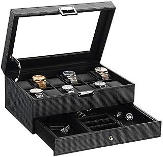 BEWISHOME SSH02BZ - Caja organizadora para relojes (12 cajones con bandeja de cristal ajustable)