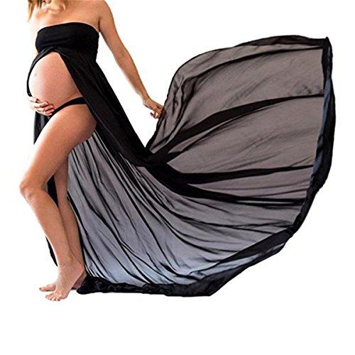 Ruiying Falda Partidade Disfraz Gasa para Mujeres Embarazadas ,Accesorios de Fotografía,Vestido de Premamá Fuera de Hombro Ropa Con Manga Larga (M, Negro)