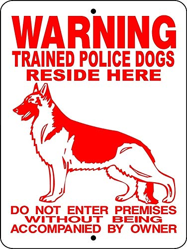 German Shepherd Dog Police K Warning Pdogs Aluminum Sign for Garage Easy to Mount Indoor & Outdoor Use Metal Sign