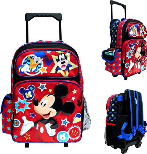"""Disney Mickey Mouse Large Rolling Backpack 16"""" Canvas Boys Book Bag"""
