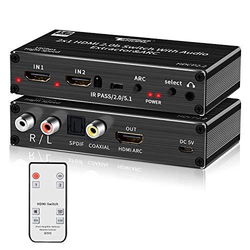 Tendak - Conmutador HDMI 2.0 (2 puertos, distribuidor HDMI 4K, interruptor HDMI 2 en 1, con óptica y extractor de audio L/R, con mando a distancia, compatible con UHD 4K@60Hz, HDCP 2.2 ARC 3D)