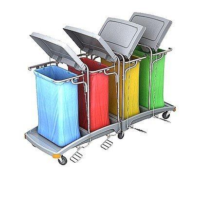 Splast grands chariot des déchets 4x 120l avec pédale et couvercles, couvrant option, Variante:ohne Beutelabdeckung