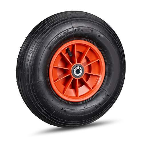 1 x Schubkarrenrad, 4.00-6 Reifen, Kunststofffelge, luftbereift, inklusive 3 Adapter, Ersatzrad Schubkarre, schwarz-rot