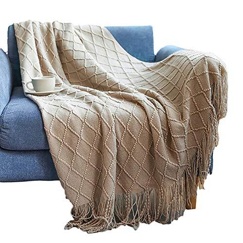 Superweiche Sofadecke, gestrickt, zweiseitig, Überwurf, Decke, Reise, Camping, Decke, für Couch, Sofa, Bett, Strickdecke, Sofadecke, 130 x 200 + 10 cm, Khaki
